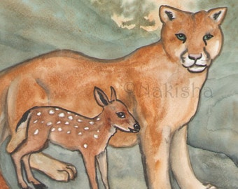 Original Art - Strength - Watercolor Cougar Painting -The Badgers Forest Tarot