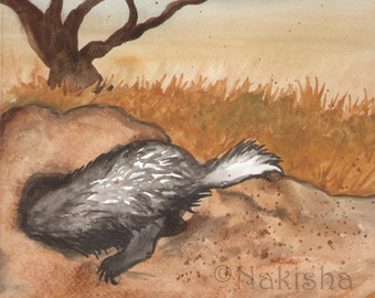 Original Art - The Nine of Badgers- Watercolor Badger Painting -The Badgers Forest Tarot