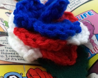 Crocheted Rose Barrette - Red, White, and Blue (SWG-HB-HEAM01)