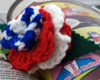 Crocheted Rose Ponytail Holder or Bracelet - Red, White, and Blue (SWG-HP-HEAM02)
