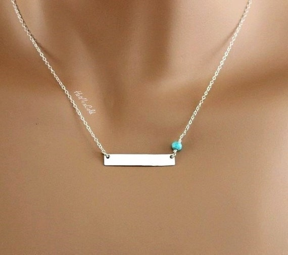 Silver Bar Necklace Personalized Monogram Horizontal By
