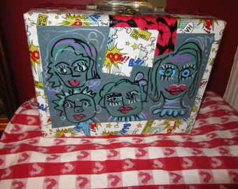 Vintage  60s  Pop Art Lips Case Box  Purse Altered Collaged Upcycled  Drawing Faces  Ooak Boho Funky