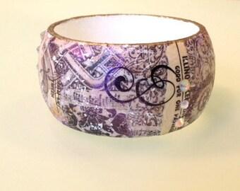Cream Black White & Gold Collage Decoupage Shabby Chic Fashion Art Bangle Bracelet Cuff w Swarovski Crystals