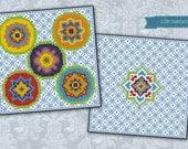 A Night in India biscornu - Cross stitch PDF pattern