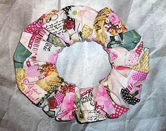 Romantic Hair Scrunchie, Themed Hair Tie, Fabric Ponytail Holder, Together In Paris