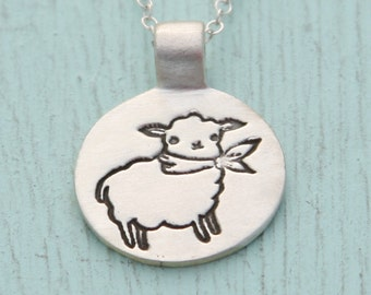 silver LAMB pendant necklace, illustration by BOYGIRLPARTY , eco-friendly silver necklace.  Handcrafted by Chocolate and Steel.