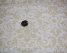 White and Cream Damask Fabric - One Yard - Marshall Dry Goods