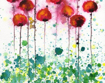 Watercolor Painting: Watercolor Flower Painting -- Art Print --  Plastic Jellyfish -- Pink Flowers -- 8x10