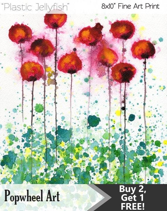 Watercolor Painting: Watercolor Flower Painting -- Art Print --  Plastic Jellyfish -- Pink Flowers -- 8x10