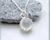 White Moonstone Necklace Gemstone Pendant Jewelry Sterling Silver Bezel Setting (SN774)