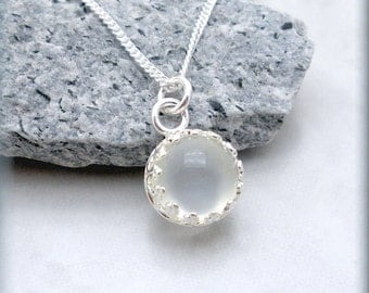 White Moonstone Necklace, Gemstone Pendant, Gemstone Jewelry, Sterling Silver, Bezel Setting, Gem Stone, Everyday, Minimalistic SN774