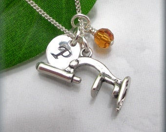Microscope Necklace Initial Birthstone Charm Jewelry Personalized Sterling Silver (SN834)