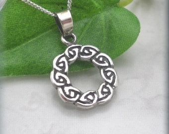 Celtic Necklace, Silver Wreath, Celtic Knot Necklace, Irish Jewelry, Friendship Necklace, Sterling Silver, Silver Celtic Knot Ring (SN857)