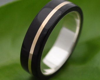 Size 10.75 READY TO SHIP Oro Plano Wood Ring - ecofriendly wood wedding band with 14k gold inlay