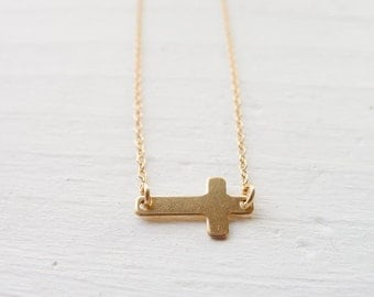 Gold Sideways Cross Necklace - Layering Necklace - Goldfilled Jewelry