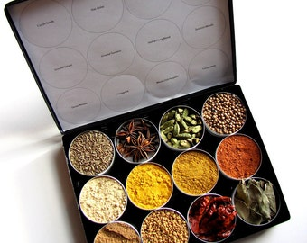 Indian spice kit in a brushed metal storage case - set of 12 - recipes included. the flavors of India at home in your kitchen.