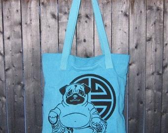 Buddha Pug Tote Bag Hand-dyed in Aqua
