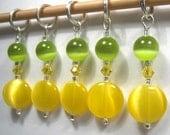 Lemon-Lime Stitch Marker Set for Knitting or Crochet
