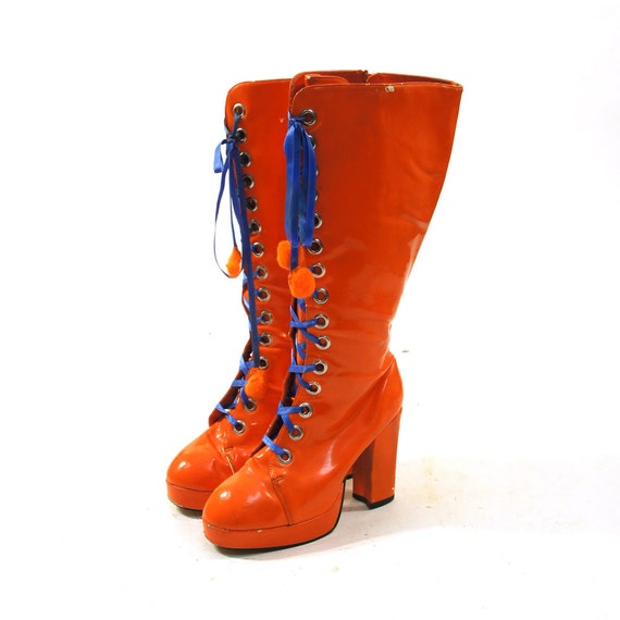 orange lace up gogo boots patent leather lace by