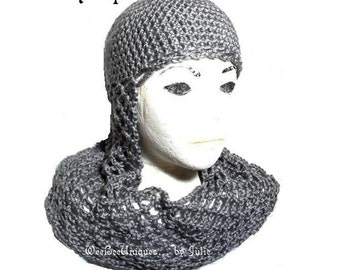 crochet pattern digital download chainmail coif knight helmet hat children & adults