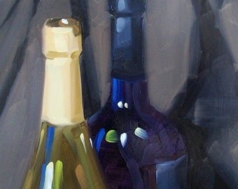 WINO 39 oil painting of colored glass wine bottles