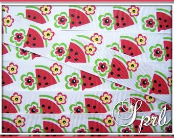 "sale SPRB 7/8"" Summer Watermelon Slices Spring Grosgrain Ribbon-5 yards-Flowers Red Apple Green Yellow"