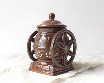 Vintage Davar Pottery Instant Coffee Mill, Ceramic Coffee Grinder