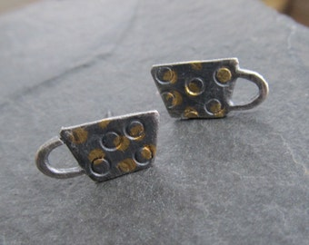 TEA Cup Earrings Silver Stud Earrings Silver and Gold Earrings Silver Tea Cup Earrings 23K Gold Keum Boo Coffee cup stud earrings