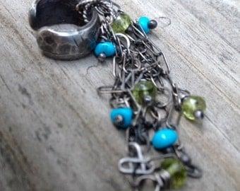 Silver Ear Cuff Single Earring ear cuff sterling silver and Turquoise dangling silver Ear cuff Wire wrapped Gemstone BADASS EAR CUFF