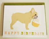 Happy Birthday French Bulldog with Cupcake Note Card Paper with Envelope