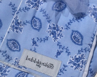 Vintage Toile Baby Blanket and Burp Cloth Set - Baby Gift Set - Personalized w/ Name