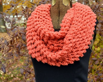 Coral Infinity Cowl Scarf Long Circle Cowl Scarf
