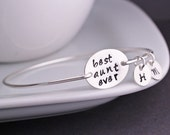 Best Aunt Ever Jewelry, Personalized Aunt Gift, Aunt Sterling Silver Bangle Bracelet with Initials