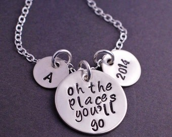 Oh the Places You'll Go Necklace, Graduation Jewelry Gift 2014 2015, Senior Gift