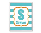 Teal Orange Nursery Art, Boys Monogram Wall Art Print, Personalized 11x14 Stripes Kids Decor