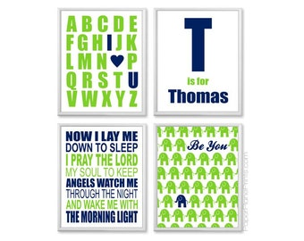 Navy Lime Nursery, Little Boys Room Decor, Personalized Baby Boy Wall Art, Custom Name Art for Nursery, Now I Lay Me Down to Sleep 8x10 Set