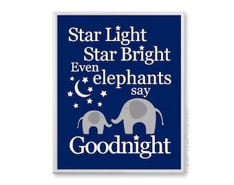 Boys Elephant Nursery Decor Wall Art, Goodnight Baby Print, Nursery Rhyme, Bedtime Artwork for Kids Room 8x10, 11x14