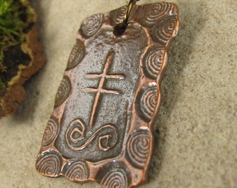 Gorse Tree, Connemara Marble, Ogham Copper Pendant, Celtic Tree Oracle, Irish Celtic Jewelry, Ogham Trees, Copper Pendant, Celtic Oghams