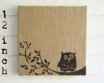 Owl on Branch -  Burlap covered Cork Message Board 12 inch - Owl Wall Decor - Bulletin Board, Pin Board, Memo Board