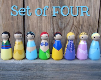 Princess- SET OF 4 Peg People - Your choice of FOUR- Wood Peg Dolls Hand Painted