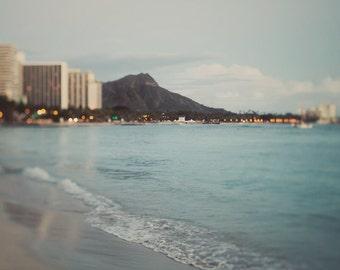 Waikiki Beach at Dusk, Hawaii, Summer Vacation, Beach Photography, Ocean Waves, Sea, Blue Pastel Wall Decor - Destinations