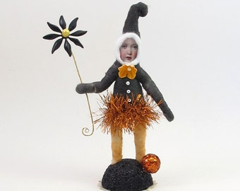 Vintage Inspired Spun Cotton Halloween Elf Girl Limited Edition Figure