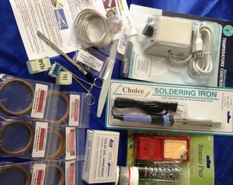 Complete KIT for Solder Art Jewelry with Choice Soldering Iron, TEMP Control Rheostat, Stand, Solder, Big Mix of Copper Foil, Rings, GLASS