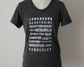 Pride and Prejudice Locations Typography t shirt- Jane Austen - you choose shirt style