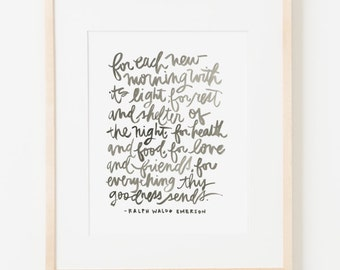 framed 8x10 print / ralph waldo emerson / choice of black, white, natural or gold frame