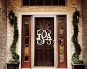Custom MONOGRAM door hanger / BURLAP bow//Block and Script 24 inch wreath/chevron/Initial/wooden/wedding gift/front door decor/wall hanging