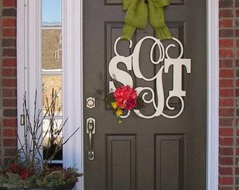 Custom MONOGRAM door wreath / BURLAP bow/ NEUTRAL color/ all season/ 24 inch/ flower/wooden/wedding gift/front door decor/hanger/hydrangeas