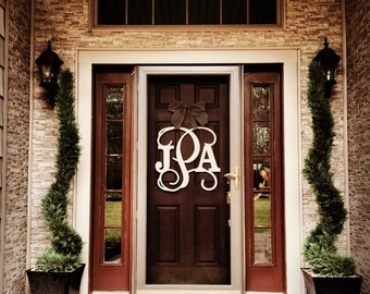 Custom MONOGRAM door hanger -wooden/wreath/burlap/chevron/front door /Wallhanging/nursery/wedding/anniversary/monogrammed/initials