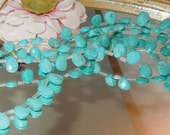 6 Turquoise Magnesite Facet Teardrop Briolettes- 7x10mm- Bastet's Beads