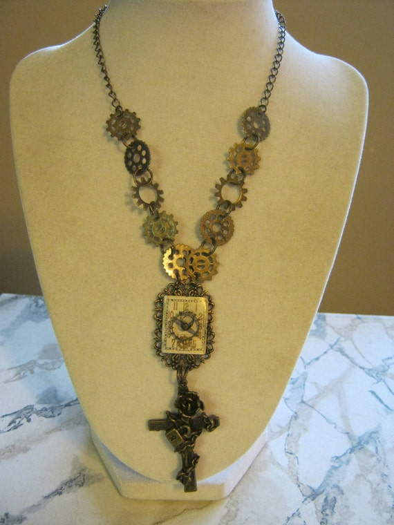 Steampunk Watch Face and Gears Rosary Necklace